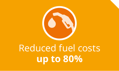 Reduced fuel costs up to 80%