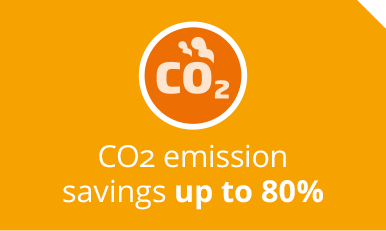 CO2 emission savings up to 80%
